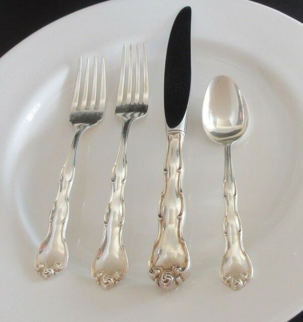 Gorham Sterling Silver RONDO 4 Piece Place Setting Salad Fork Knife Teaspoon & Rondo Gorham Sterling Silver 4 Piece Place Setting | eBay