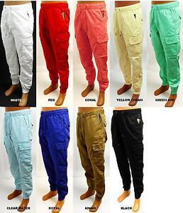 d7a01983c23b61 Men's EVOLUTION white red khaki royal black cargo twill jogger pants ...