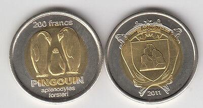 unusual coinage bimetal FRENCH ANTARCTIC 200 Francs 2011 Penguins
