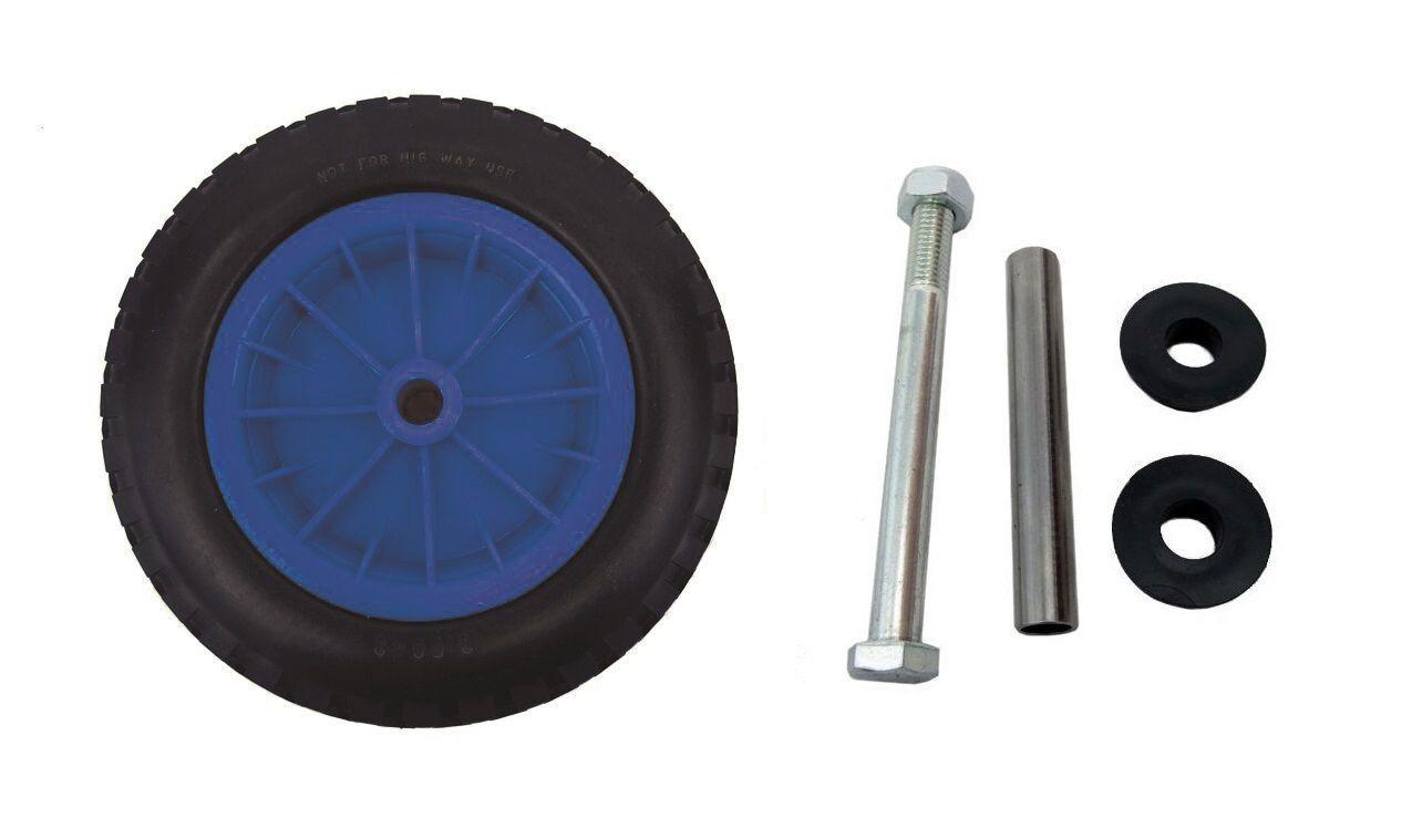 PU 16  PUNCTURE PROOF blueE WHEELBARROW WHEEL TYRE 4.80 - 8 FOAM FILLED + AXLE
