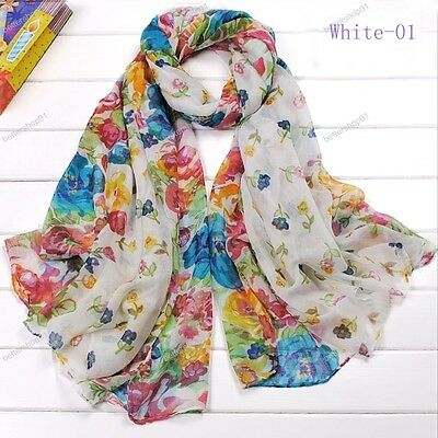 Fashion Girl  Nice Long Cotton Voile Floral Shawl Scarf Wrap Stole