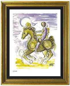 Salvador-Dali-Signed-Hand-Numberd-Ltd-Ed-034-Master-amp-Horse-034-Litho-Print-unframed