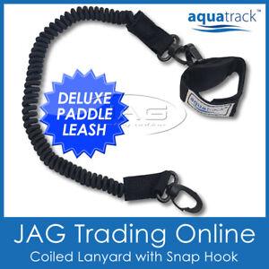 AQUATRACK DELUXE BLACK KAYAK PADDLE LEASH - Canoe/SUP/Fishing Rod Coiled Lanyard