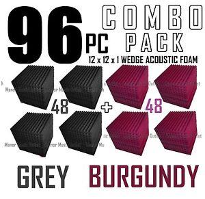 ComBo-96-pack-BURGUNDY-and-charcoal-GREYAcoustic-Wedge-Sound-Studio-Foam-12x12x1