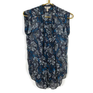 Rebecca Taylor Silk Floral Blouse Womens Size 2 Blue Teal Sheer Sleeveless Top