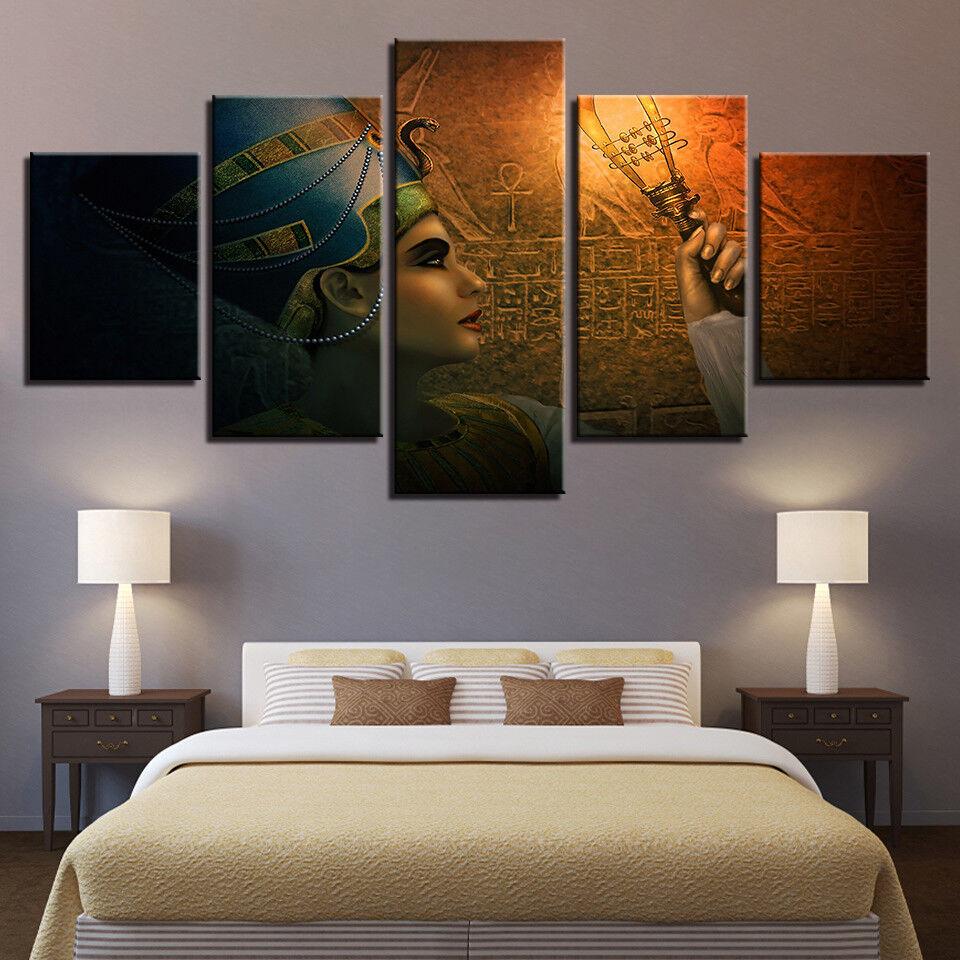Egyptian Queen Headdress 5 Panel Canvas Print Wall Art