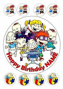 """RUGRATS BIRTHDAY PERSONALISED ROUND EDIBLE ICING 7.5"""" + 8 ..."""