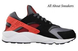 timeless design fb458 29efb Image is loading Nike-Air-Huarache-OG-034-Dark-Grey-Red-