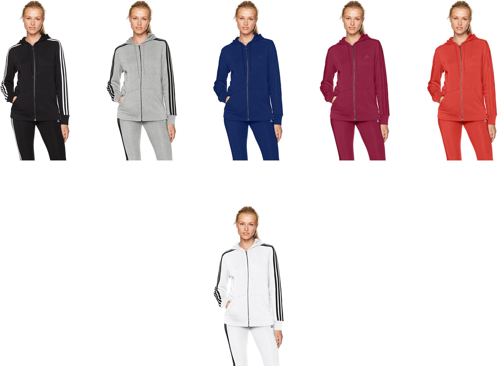 Adidas Women's Essentials Cotton Fleece 3-Stripe Full Zip Hoodie, 6 colors
