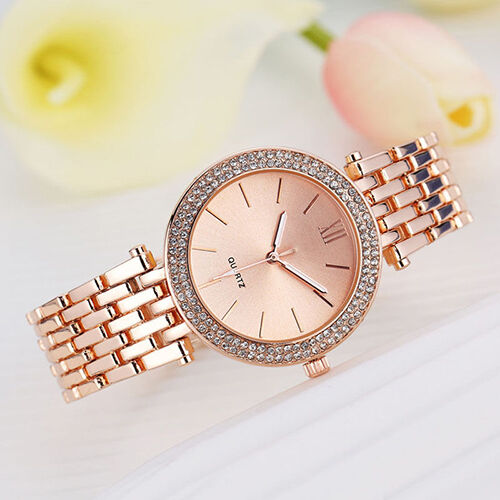 Fashion Women Ladies Crystal Bracelet Stainless Steel Quartz Wrist Watch Latest