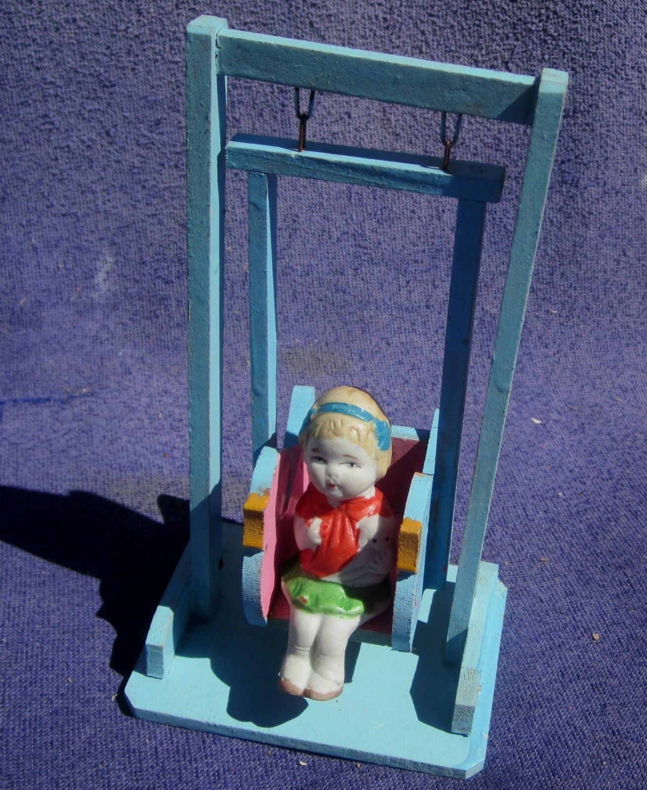 Rare 1920 30s Seated Porcelain Doll on blu Wood Standing Swing NOS from Store