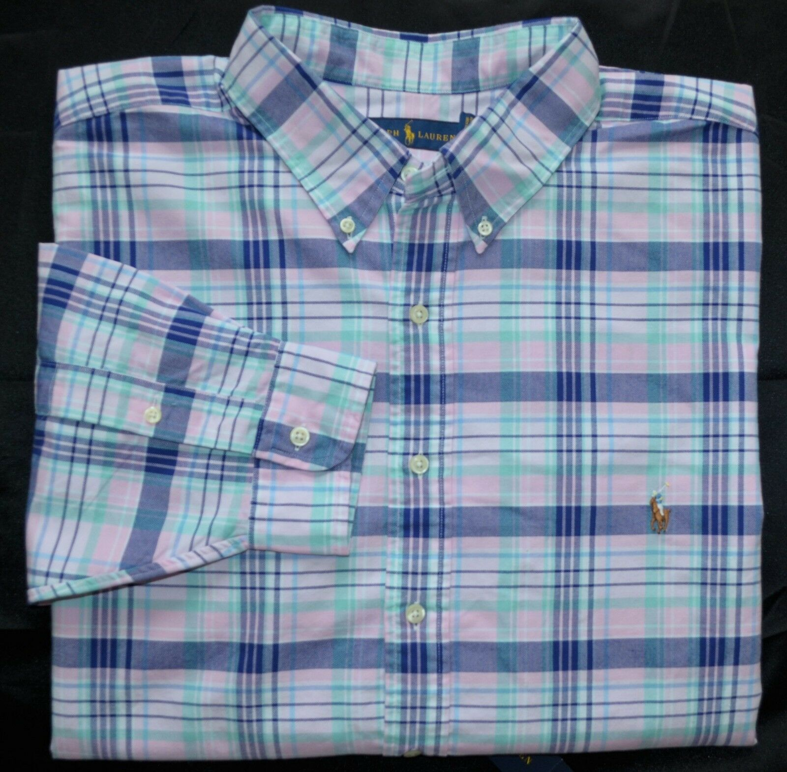 New Medium M POLO RALPH LAUREN Mens long sleeve oxford shirt pink bluee top NWT