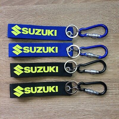 SUZUKI Logo Keychain Fabric Keyring Biker Wrist Strap Motorcycle Key Fob