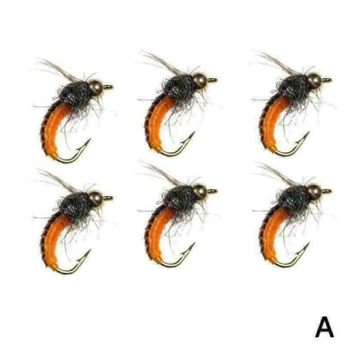 6PCS BrassBead Head Scud Fly Bug Worm Nymph Artificial Insect Bait Lure Bes H2V6
