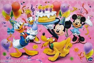 Disney Mickey Mouse Holding Birthday Cake For Donald Duck Poster