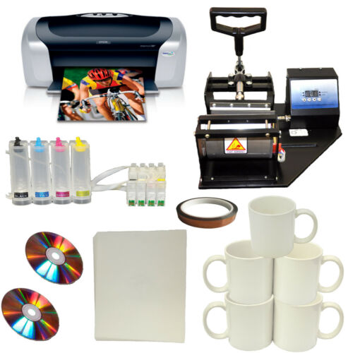 Mug Cup Heat Press Epson Printer Sublimation CISS Ink Kit,Transfer Paper Package