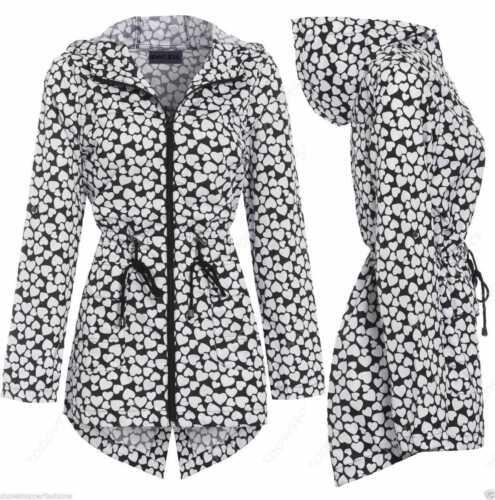 Ladies Rain Mac Parka Womens Fishtail Jacket Festival Coat Floral 8 10 12 14 16