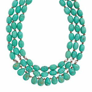 "Silpada 'Drops of the Ocean' Natural Howlite 3-Strand Necklace, Silver, 18"" + 2"""