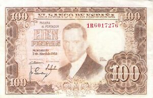 SPAIN-1953-100-PESETAs-P-145a-2-Free-to-Combine-Low-Shipping