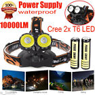 10000LM Cree 2x T6 LED Rechargeable 18650 Headlamp Headlight Torch Flashlight