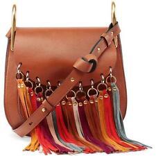 Auth $2390 CHLOE Hudson Fringe Trim Leather Shoulder Bag Crossbody Multi Caramel