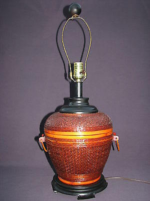 Vintage Chinese Woven Bamboo Rice Basket 3-Way Lighting Decorative Table Lamp