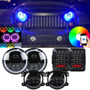 Details About Led 7 Inch Headlight Rgb Halo Lights Fog Tail Combo Light Kit For Jeep Wrangler