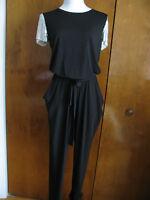 Michael Kors Women's Black/silver Detailed Evening Jumpsuit Size Xs,s,m,l,xl