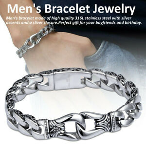 Men-039-s-Stainless-Steel-Polished-Silver-Heavy-Huge-Curb-Link-Chain-Bracelet