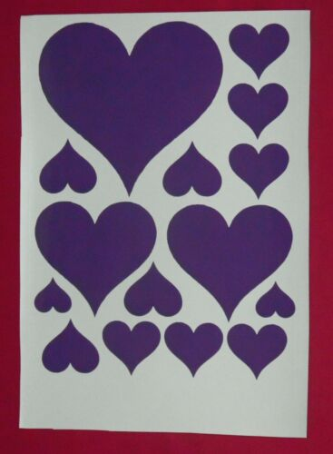 15 Heart Stickers of Mixed Sizes fun decoration Lots of colours !