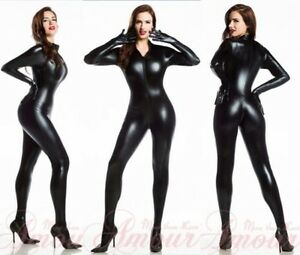 Image Is Loading Pvc Bandage Catwoman Hen Costume Catsuit Jumpsuit Teddie