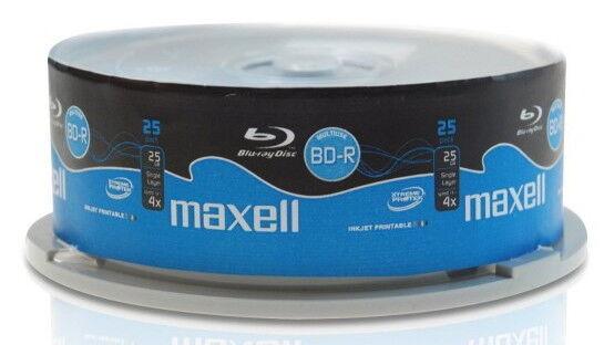 25 Maxell Rohlinge Blu-ray BD-R full printable 25GB 4x Spindel