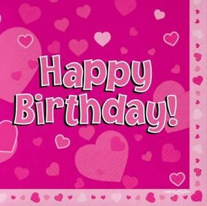 16 pack pink girl happy birthday hearts ladies luncheon party paper