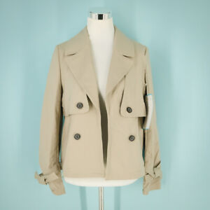 Halogen Size Small S Short Trench Coat Notched Lapels Tied Sleeves Jacket NWOT
