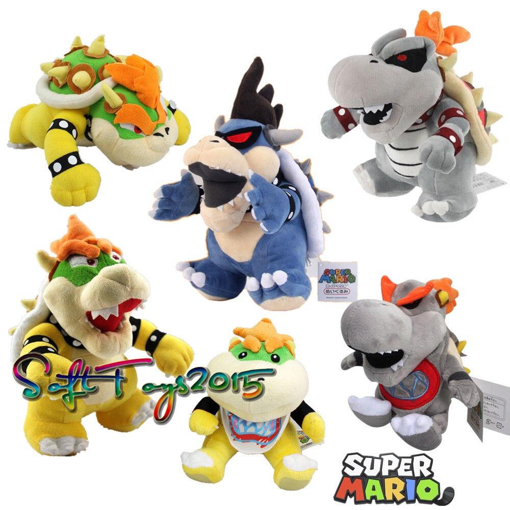 Super Mario Bros Dry Bone Dark Jr Bowser Koopa Family Stuffed Plush Doll 6pcs US