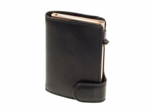 Schwarzes Kreditkartenetui Damengeldbörse Tony Perotti Rifinito Leder Furbo RFID