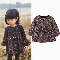 0-2 Years Baby Girls Vintage Pleated Floral Dress Button Up Skirt Outfit Outwear