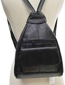 Ladies-Black-Zippered-Backpack-Style-Leather-Womens-Crossbody-Bag-Purse-Lady-New