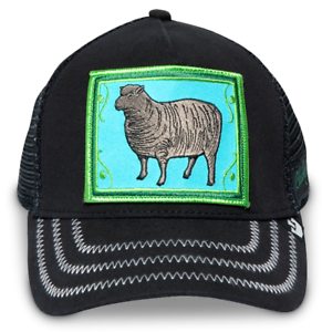 813d4afe5f35f Goorin Bros. Animal Farm Trucker Snapback Hat Cap Green Black Sheep ...