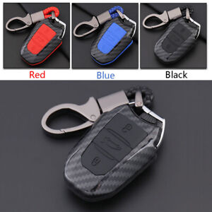 Carbon-Fiber-Shell-Silicone-Cover-Remote-Key-Holder-Fob-Case-For-Peugeot-508-A