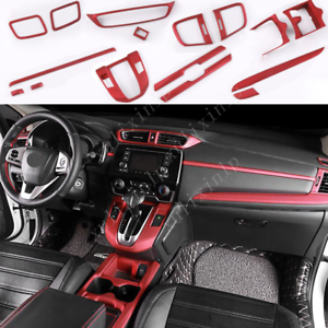 For 2017-2019 Honda CR-V ABS Matte Red Interior Accessories Decoration Kit 16pcs