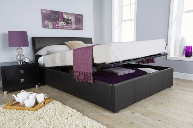 Ascot 4ft6 Double Ottoman Storage Bed with Curved Headboard - Black Faux Leather