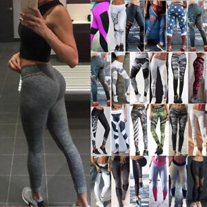 Ladies-Yoga-Sports-Pants-Active-Apparel-Leggings-Running-Gym-Fitness-Trousers-MH