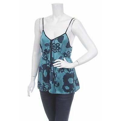 BNWT MARC BY MARC JACOBS WOMEN'S BLUE GREEN FLORAL TOP CAMI Size 8 100% SILK NEW