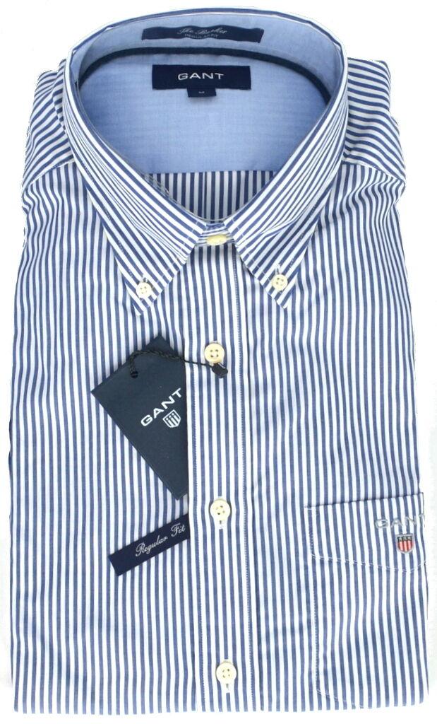 Langarmiges Männerhemd Streifen blau/weiß Gant Hemd Mann deep cobalt blau