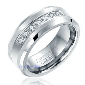 Image Is Loading 8mm Mens Tungsten Ring Round Diamond Inlay Center