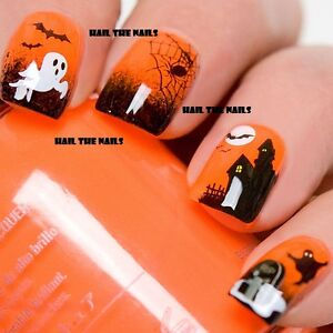 Halloween-Nail-Art-de-transferencia-de-Agua-Decal-Wraps-murcielagos-Arana-Fantasma-Haunted-y749