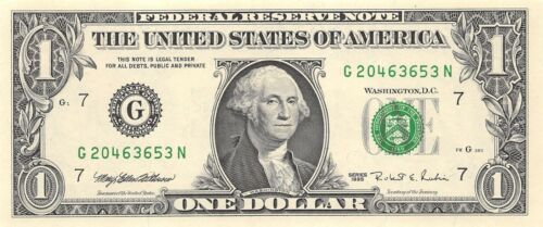 CHICAGO $1 Federal Reserve Note One Dollar Bill 1995 series G//N