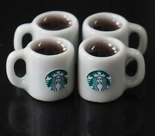 DOLLHOUSE MINIATURES 4 CUPS OF HOT BLACK COFFEE  FOOD SUPPLY BEVERAGE DRINK