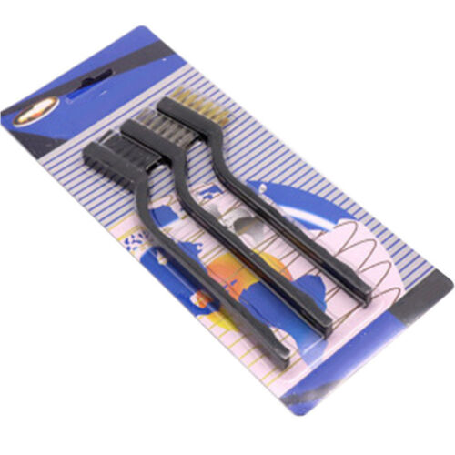 WIRE BRUSH SET SMALL MINI MICRO STEEL BRASS NYLON DIY METAL RUST REMOVER 3PC